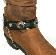 PAIR- Black Leather silver mesa cowboy boot chain - USA, Cowboy boot chains, Cowboy boot tips and heels, boot bracelets, leather boot chains, western boot chains, cowboy boot harness, cowboy boot jewelry