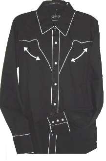 Womens Pearl snap, Retro White piped black western shirt