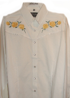 "Men's ""Yellow rose of Texas"" White western shirt by White Horse, Mens western wear, western shirt, mens western shirt, western shirts for men, cowboy shirt, western shirt with snaps, western shirt vintage,"