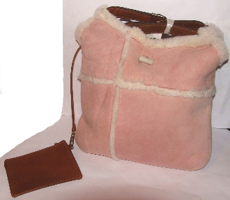 Pink Shearling hand bag purse by Scully, pink shearling purse