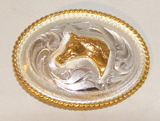 Small German Silver horse head belt buckle, child belt buckle, kids silver buckle, kids horse buckle, kids cowboy buckle.