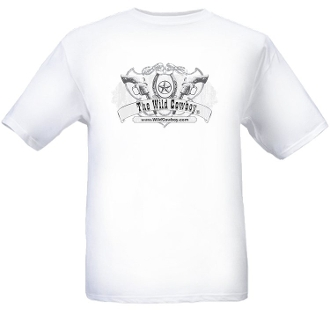 """The Wild Cowboy"" Logo Mens White short sleeve western T-shirt, the wild cowboy t shirt, western t shirt for men, mens western tshirts, cowboy western tee shirts, western tees, mens western shirts"