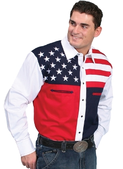 This Scully Mens Stars and stripes western shirt is a beautiful cotton usa flag shirt. This mens western shirt is stylish and comfortable to wear while showing off your patriotic pride.