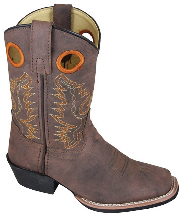 """Memphis Brown"" youth square toe brown cowboy boots,youth square toe brown cowboy boots"