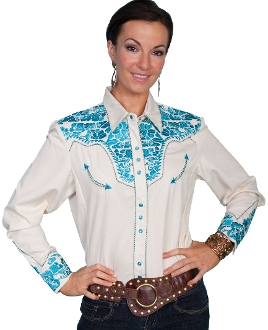 """Gunfighter Ocean"" Womens Scully Western shirt , scully wommens shirt, womens scully western shirt, womens western shirt, cowboy shirt, western shirt for women, scully retro shirt, vintage shirt, retro shirt, scully"