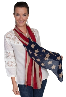 Scully USA American Flag Patriotic Western Scarf, western scarf, cowboy scarf, silk scarf for women, silk scarf for men, silk western scarfs, western scarves, blue western scarf