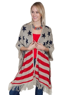 Scully USA American Flag Patriotic Khaki Sweater Scarf.