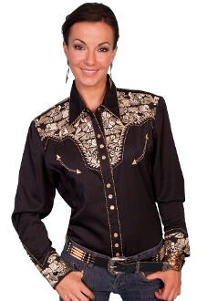 """Golden Lady Gunfighter"" Womens black western shirt by Scully, scully wommens shirt, womens scully western shirt, womens western shirt, cowboy shirt, western shirt for women, scully retro shirt, vintage shirt, retro shirt, scully"