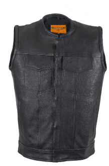 Mens Club Black Leather Western Concealed Carry Vest