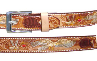 Adult Brown Eagle Print Leather Western Belt, Adult Tooled Leather Brown Western Belt, leather western belt, mens brown western belt, brown leather western belt