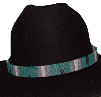 "This 3/4"" Tapestry Teal Southwestern Cowboy Hat Band is for the person who is looking for a larger fitting hat band. This southwestern designed hat band fits the bigger cowboy hat sizes."
