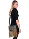 This Brown Leather and Suede Womens Fringe Handbag Purse features a flap closure with whip stitch trim and center pull tab with magnetic snap closure. Suede fringe runs down the sides and along the bottom of the bag.