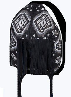 This Women's Scully Aztec Western Fringe Backpack features an aztec inspired fabric design that features a suede front panel with suede fringe. Zip and hook closure. Roomy interior. Suede and fabric backpack straps