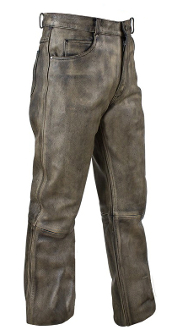 These Men's 5 pocket Distressed Brown Leather Riding Pants are made from top grade genuine leather lined for comfort and heavy duty to protect you while you ride yet soft to the touch for an excellent quality riding pants.