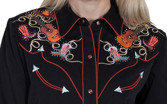 This Scully brand Western Boot Guitar & Hat Womens Black Rhinestone Westen Shirt is a dancing favorite with the rhinestone accents and pearl snaps