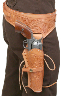 This Natural Tooled Leather 38 Caliber Single Gun Holster holds any 38 hand gun and fits 6 or 8 inch barrels with floral hand tooled leather and back waist bullet holes for a cowboy action shooting western event.