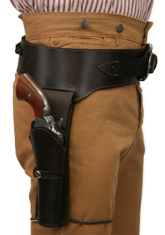 This Antique Brown Leather 38 Caliber Double Gun Holster holds two 38 hand gun and fits 6 or 8 inch barrels with old west brown leather and back waist bullet holes for a cowboy action shooting 1800's frontier western style event.