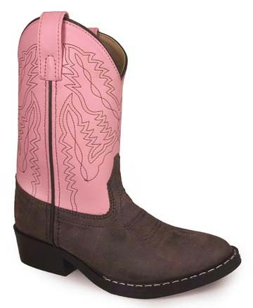 """Miss Monterey"" Brown and Pink Youth Cowboy Boots"