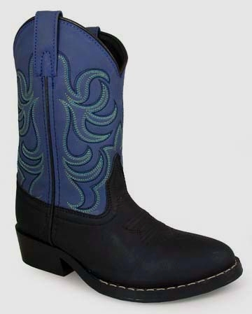 """Memphis Blue"" YOUTH square toe black cowboy boots"
