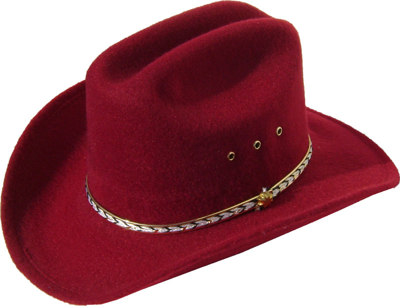 Child Cattleman Maroon faux felt traditional cowboy hat, Child felt cowboy hat, child blue western hat, child cowboy hat, red cowboy hat