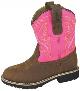 """Colby"" Youth Brown and Pink Cowboy Boots"