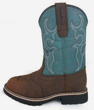 """Colby"" Youth Brown and Turquoise Cowboy Boots"