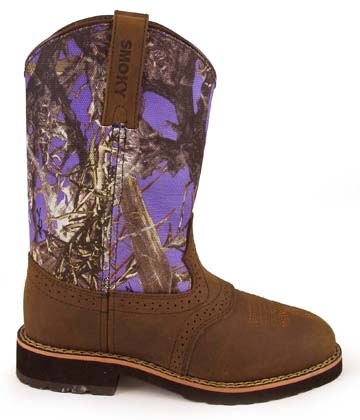 """Colby"" Youth True Timber Purple Camo Cowboy Boots"