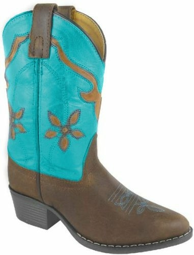 """Turquoise Cactus Flower"" youth cowgirl boots"