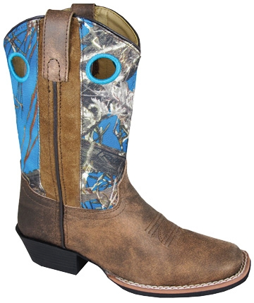 kids Square Toe True Timber BLUE Camo Cowboy Boots, womens cowboy boots, cowboy boots for women, ladies cowboy boots, cowgirl boots, womens cowgirl boots