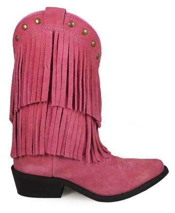 """Miss Wisteria"" Pink Double Fringe Youth Cowgirl Boots"