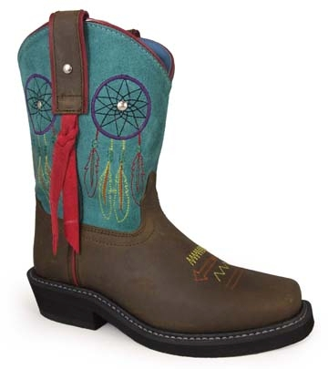 """Miss Dream Catcher"" Turquoise, Brown Kids Cowgirl Boots"