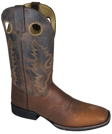 """Luke"" Brown Saddle Vamp Mens Square Toe Cowboy Boots"