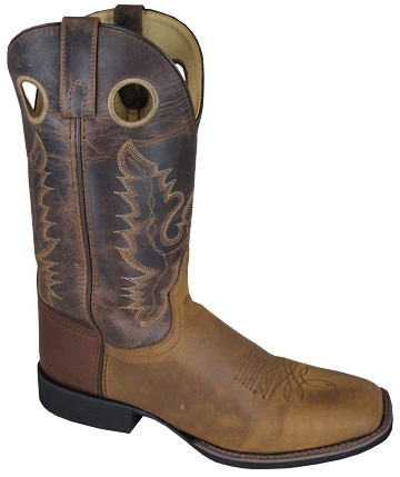 """Marshal"" Brown Buckaroo Mens Square Toe Cowboy Boots"