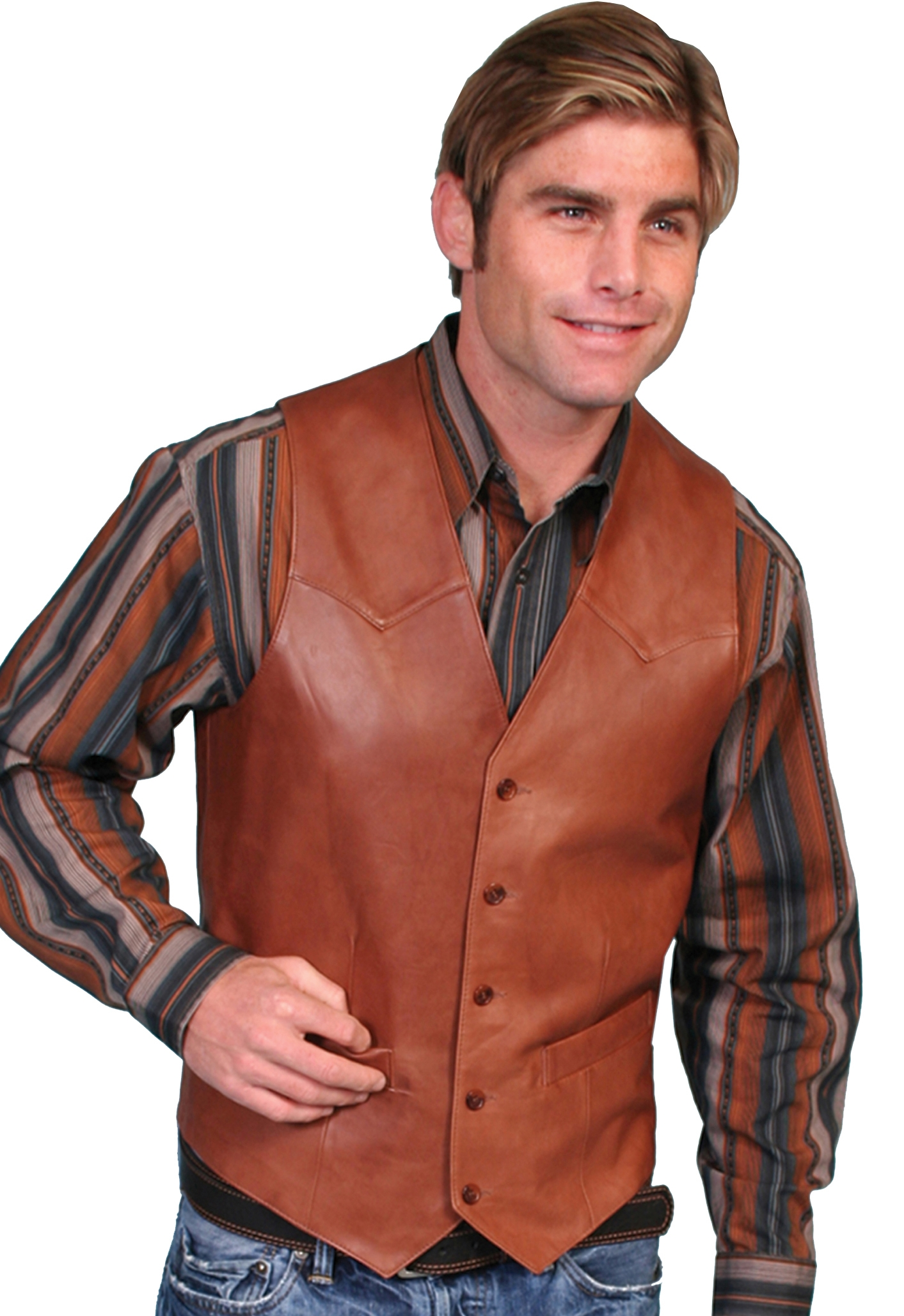 Mens 46L Antique Brown lamb leather Scully western vest