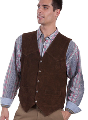 Mens Snap Brown Calf Suede Leather Scully Western Vest