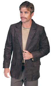Mens Scully Dark Brown Leather Western Blazer 56 reg