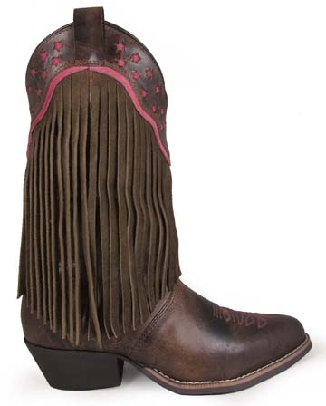 """Helena"" Womens R Toe Brown Fringe Cowboy Boots"