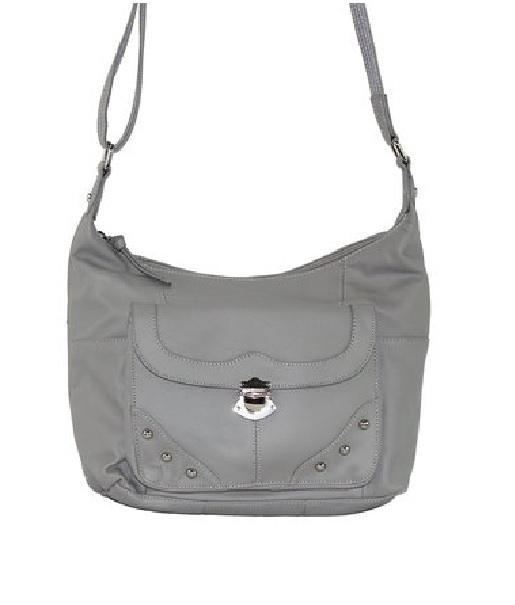 "Our ""Elaine"" Women's Gray Leather Stud Concealed Handbag has an actual Holster that means no printing on your purse. No printing with this included gun holster for your leather concealed handbag."