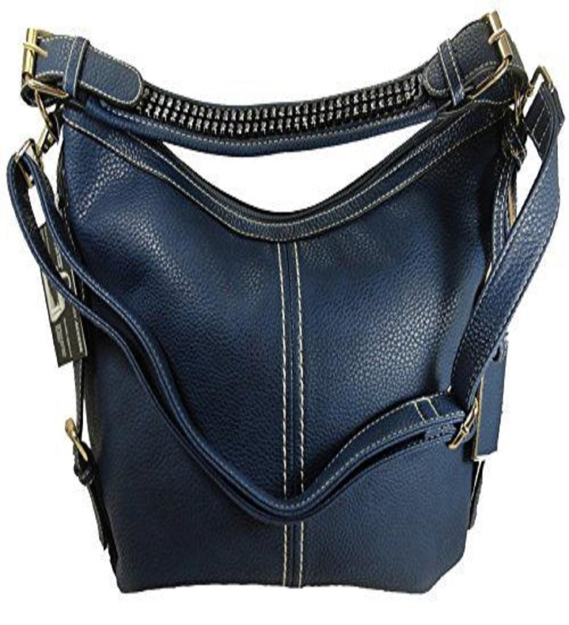 """Lisa"" Women's Blue Vegan Leather Concealed Handbag has an actual Holster that means no printing on your purse. No printing with this included gun holster for your leather concealed handbag."