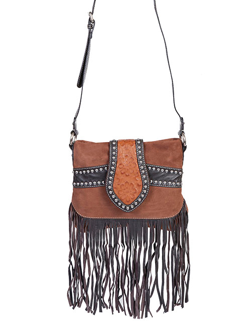 Brown Leather, Suede Studded Scully Womens Fringe Handbag, Purse, fringe Scully Leather Handbag, Scully Brown fringe handbag, Leather western purse, Western purses, western handbags