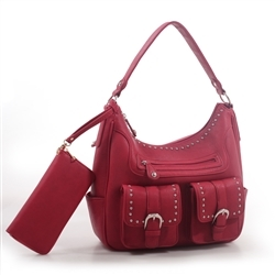 """Bree"" Red Hobo Concealed Carry Western Purse with Wallet is perfect for any womens concealed gun needs"