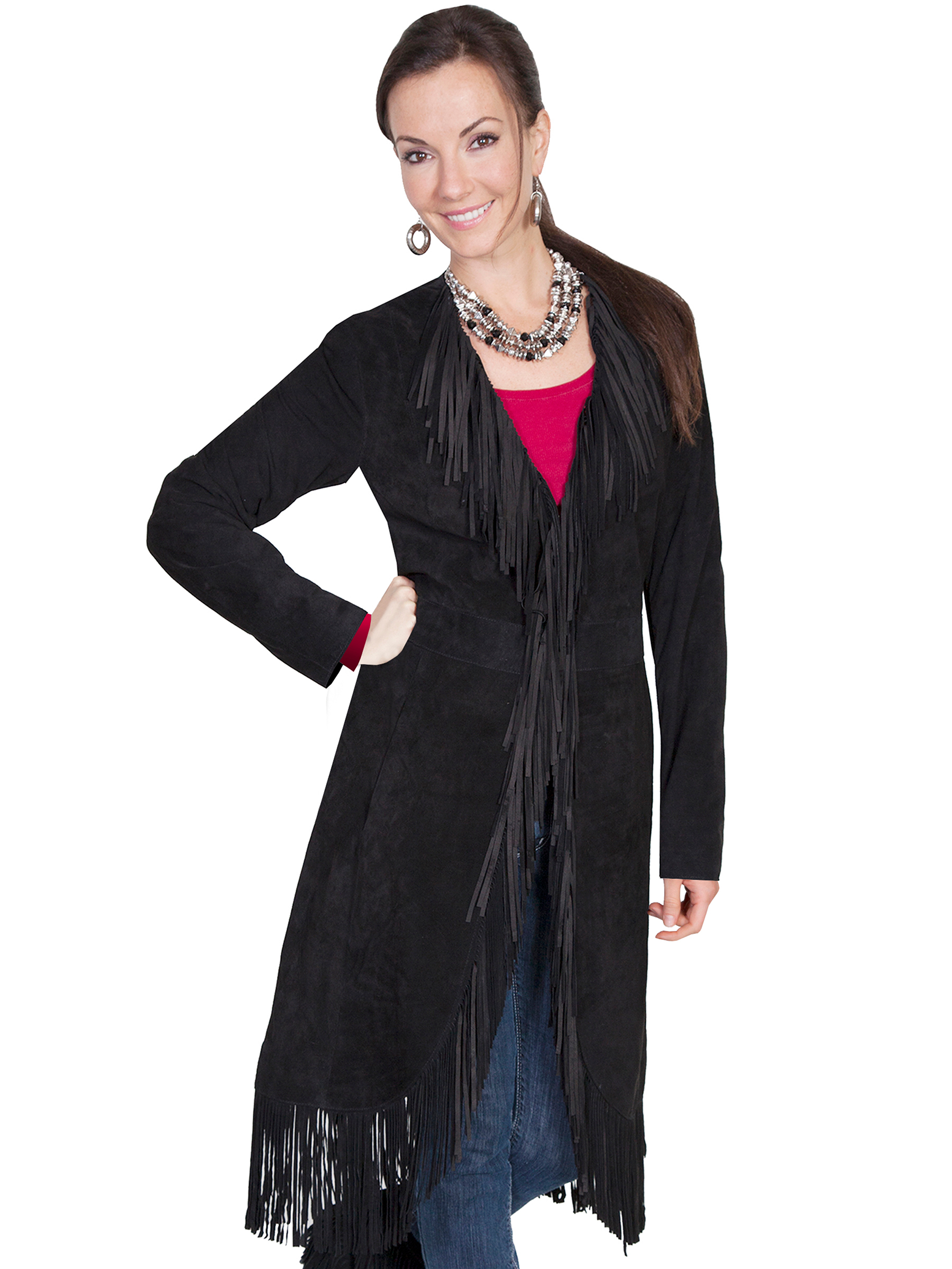 "This ""Dakota"" Scully Womens Full Fringe black Suede Coat is made of a rich soft boar suede featuring an abundance of fringe starting from the collar, down the front and all around the hem."
