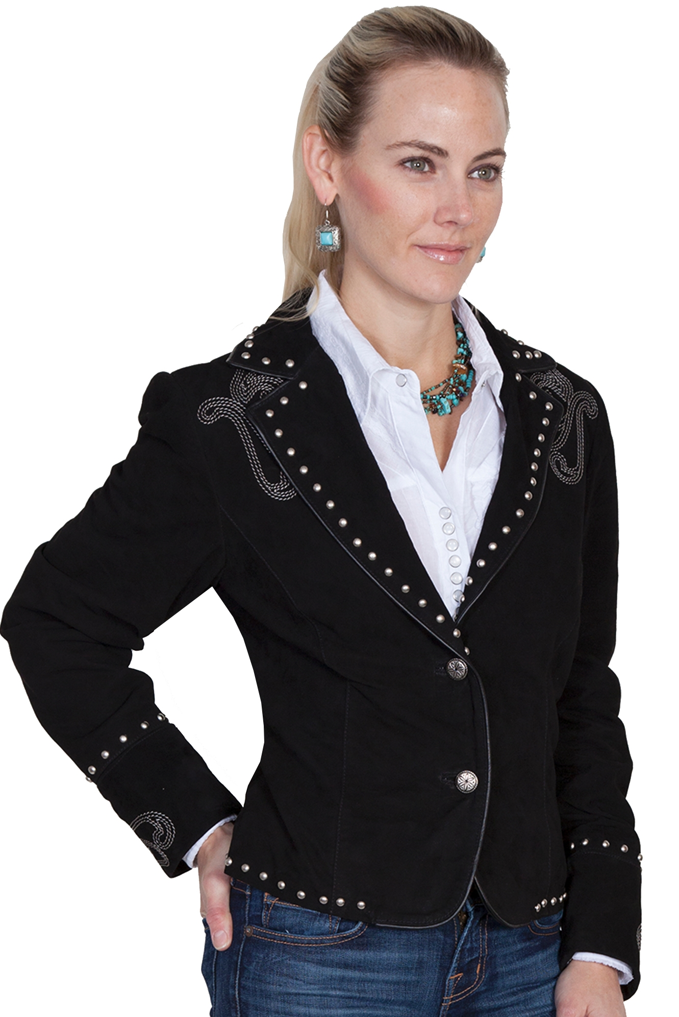 Ladies Waist length Black suede fringe western jacket by Scully