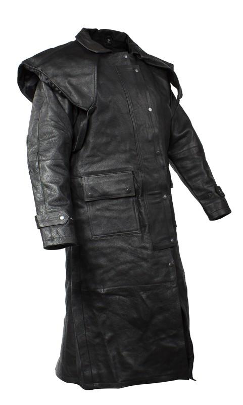 This mens leather duster jacket is one of a kind. The jacket features z/o lining that runs through the sleeves. The removable leather cape, and leg straps make the duster even more attractive. The duster features multi pockets outside and inside.