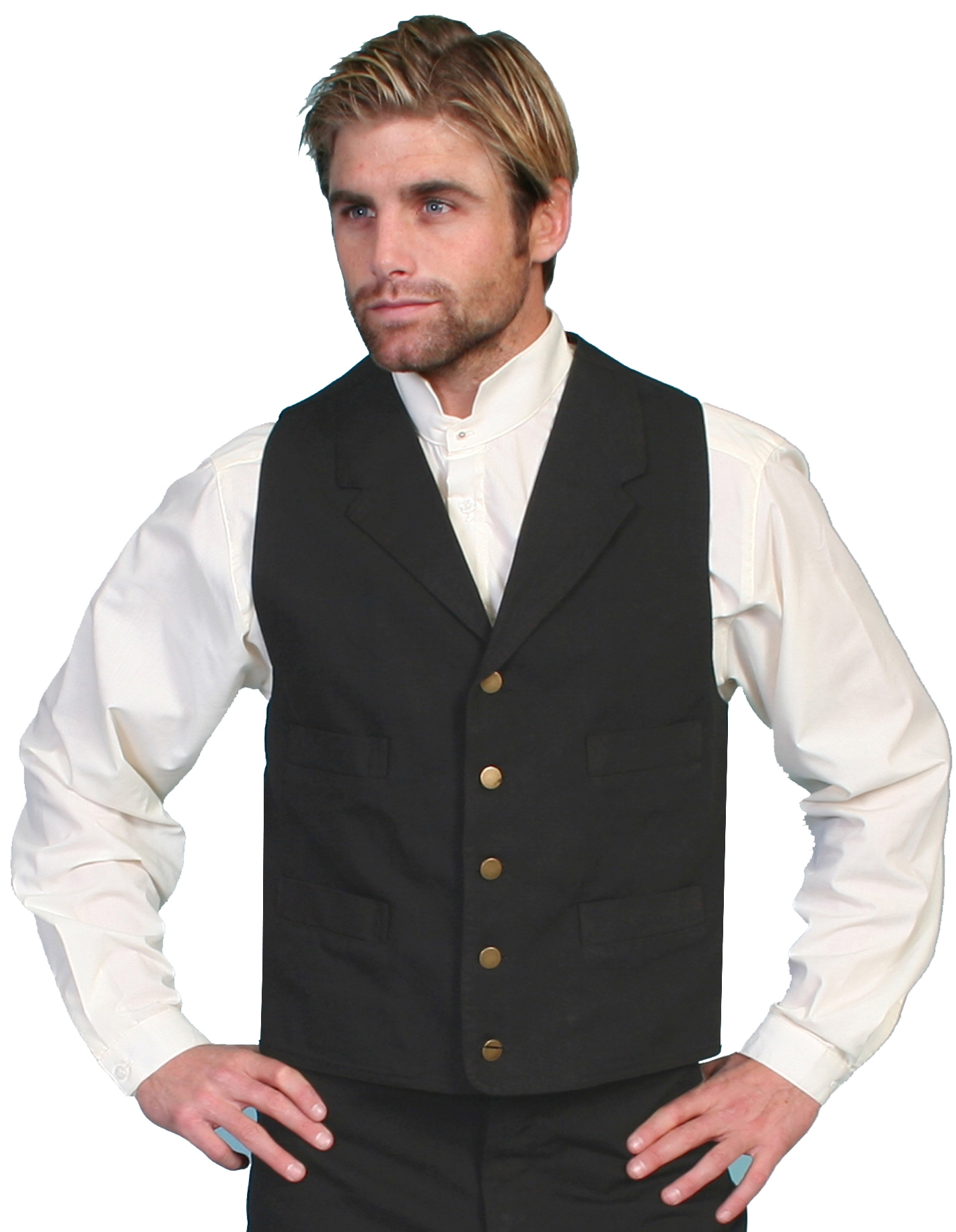 Scully Mens Cotton Canvas Black western Lapel vest, mens canvas western vest, western vest for men, scully rangewear vest