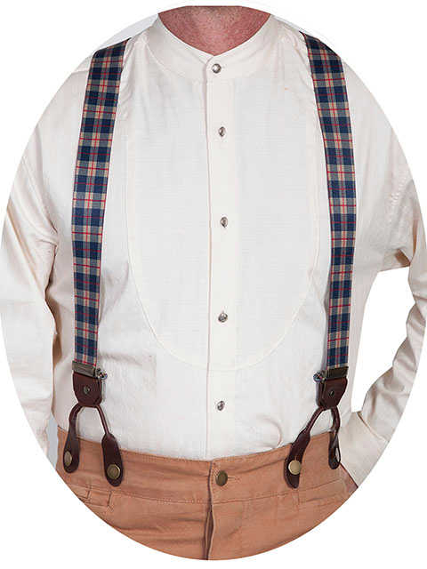 Scully Rangewear Blue Plaid Y Back Suspenders 1.5""