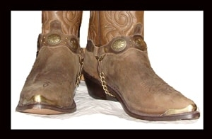 Cowboy boot tips, heel guards, boot rands, cowboy boot plates, boot bracelets, leather boot chains, western boot chains, cowboy boot harness, cowboy boot jewelry, toe rand, cowboy boot rand, heel guard.