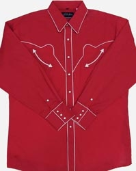 This Men's White Piped Pearl Snap Red Vintage Western Shirt is a retro cowboy shirt throwback with matching pearl snaps for any rodeo or cowboy party made in sizes from small to 3xl