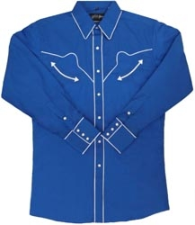 This Mens SB Royal blue white piped western shirt is similar to the one worn in the very popular movie SUPERBAD worn by Jonah Hill. This is also a replica vintage mens western shirt with the retro pearl snaps, piping and smiley pockets