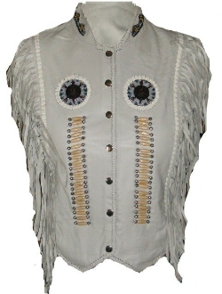 Ladies soft bone leather fringe western vest